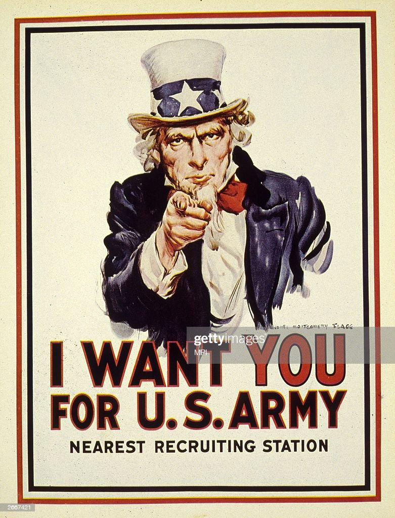 'Uncle Sam' points an accusing finger of moral responsibility in a recruitment poster for the American forces during World War I.
