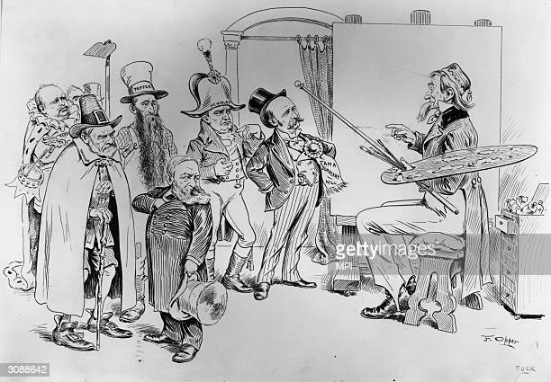 Uncle Sam prepares to paint a portrait of Ohioborn Republican statesmen Benjamin Harrison William McKinley and John Sherman but notices the odd man...