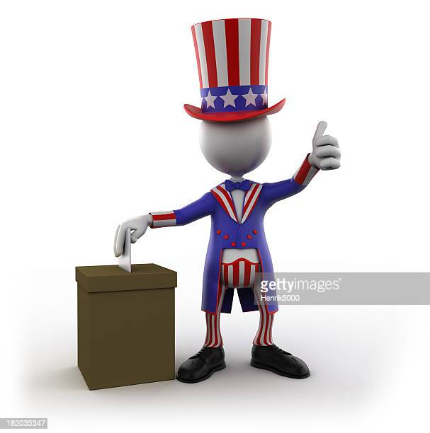 Uncle Sam voting, isolated with clipping path