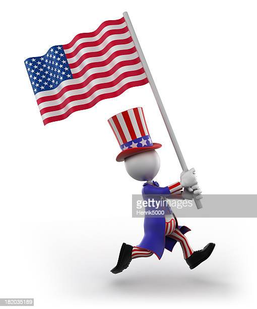 Uncle Sam with American flag, isolated /clipping path