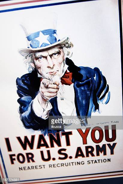 Uncle Sam's 1917 affiche sur l'écran d'ordinateur portable