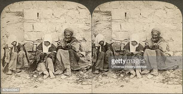 Unclean Unclean Wretched lepers outside of Jerusalem Palestine Stereo Card circa 1896