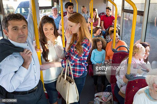 uncomfortable bus journey - unpleasant smell stock pictures, royalty-free photos & images