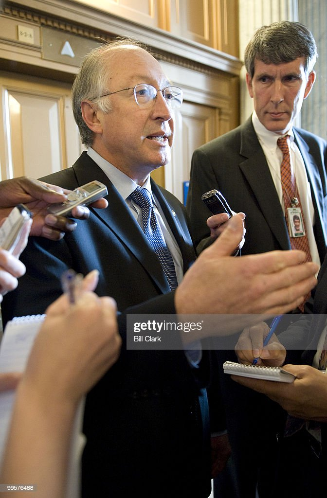 Uncommitted superdelegate Sen. Ken Salazar, D-Colo., speaks with reporters in the Capitol as he makes hos way to the Senate Democratic policy lunch on Tuesday, June 3, 2008.