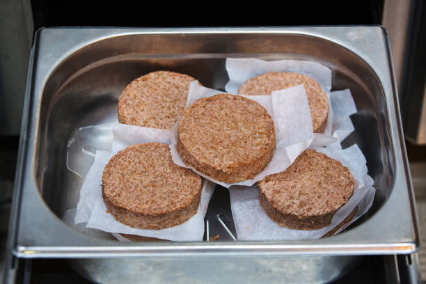 Uncooked Beyond Meat Inc. Plant-based burger patties sit in the kitchen inside a TGI Friday's Inc. Restaurant in Moscow, Russia, on Friday, Sept. 27,...