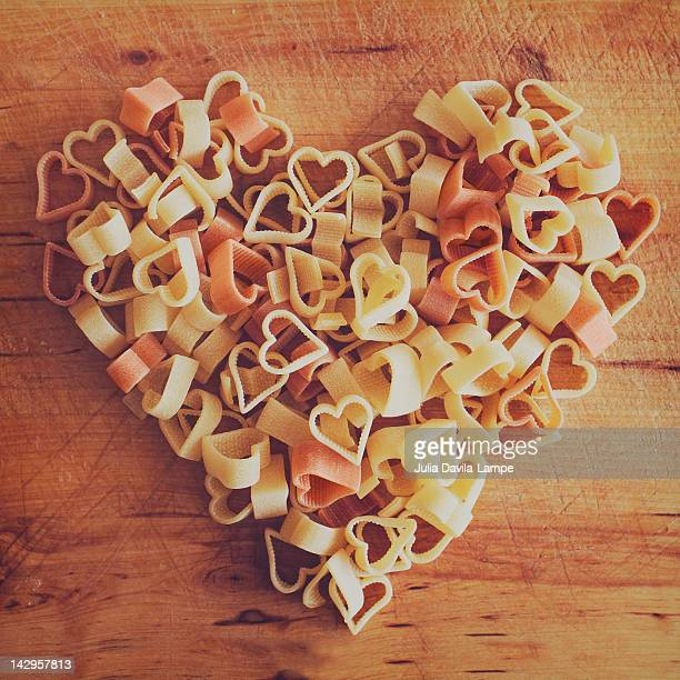 Uncooked heart-shaped pasta