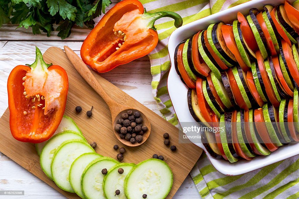 Uncooked homemade French ratatouille. Healthy food concept. : Foto de stock