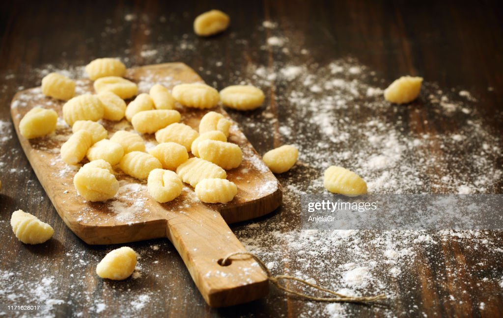 Uncooked homemade potato gnocchi : Stock Photo