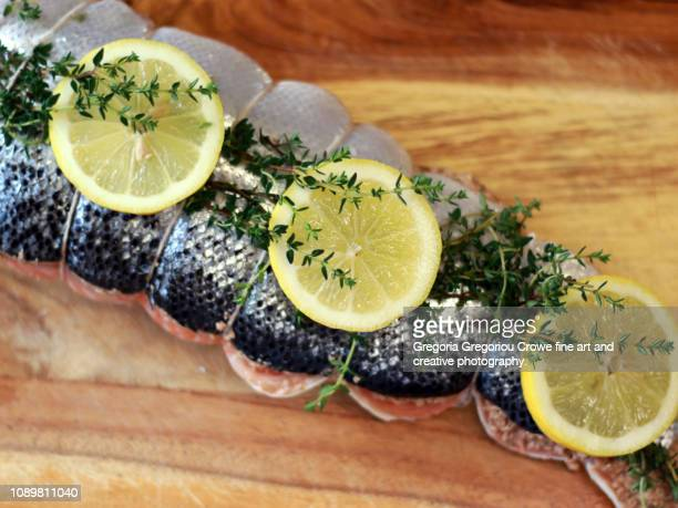 uncooked stuffed salmon - gregoria gregoriou crowe fine art and creative photography. - fotografias e filmes do acervo