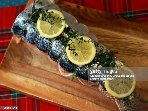 uncooked stuffed salmon - gregoria gregoriou crowe fine art and creative photography. stock pictures, royalty-free photos & images