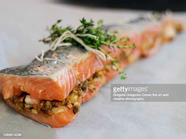 uncooked stuffed salmon - gregoria gregoriou crowe fine art and creative photography stock pictures, royalty-free photos & images