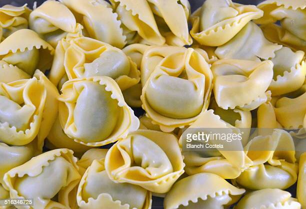 Uncooked tortellini as a background