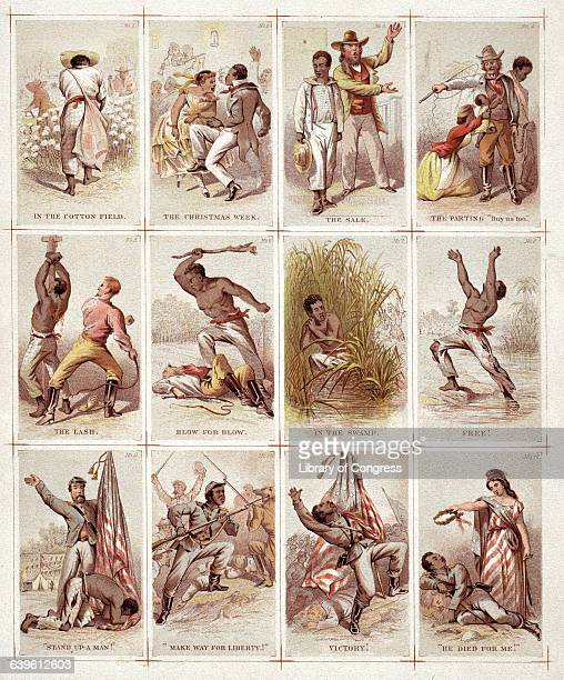 Uncut sheet of twelve illustrated chromolithographic cards presenting the life of an African American slave as he moves from work planatation to...