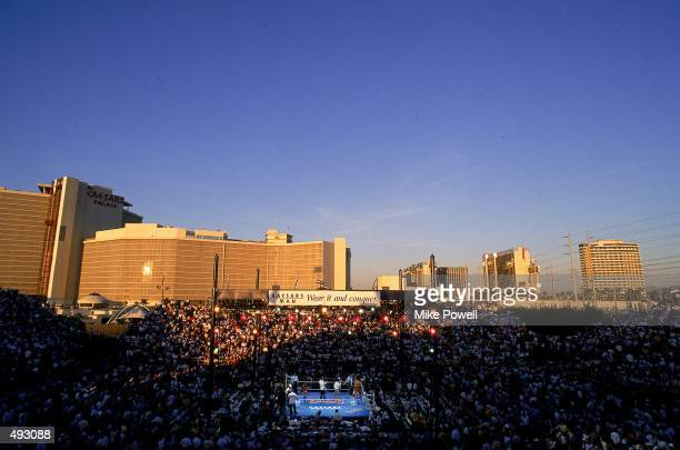 General view of the boxing ring outside Caesars Palace in Las Vegas, Nevada. Mandatory Credit: Mike Powell /Allsport