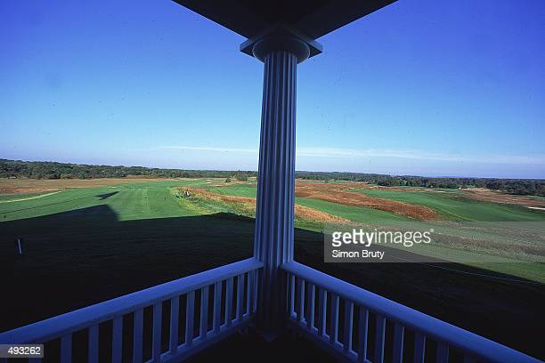 A general view of the first tee taken from the Club House terrace at Shinneock Hills Golf Course in Southampton New York Mandatory Credit Simon Bruty...