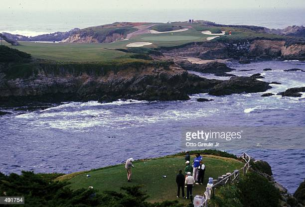 A golfer tees off during the Bing Crosby ProAm at Cypress Point Country Club in Monterey California Mandatory Credit Otto Greule Jr /Allsport