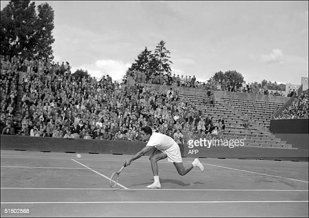 Undated and unlocated picture showing American tennis player Ricardo Pancho Gonzales He won twice the men's singles title in the US Open Gonzales...