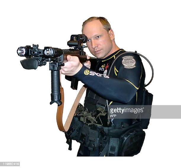 Undated and unlocated video grabbed on July 23 2011 from a manifesto and a video attributed to Anders Behring Breivik shows him aiming an assault...