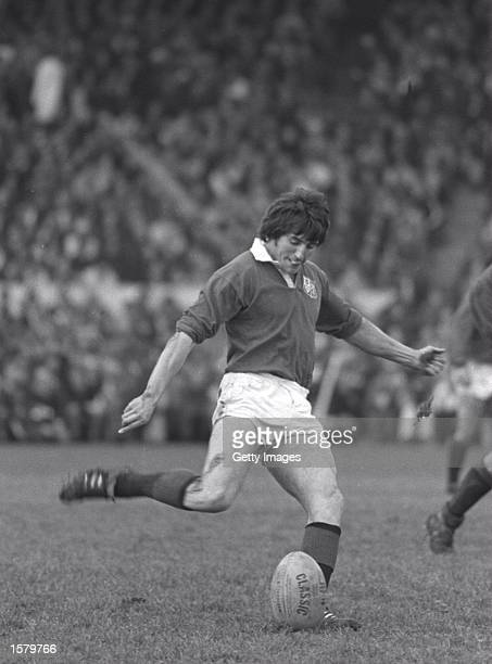 Andy Irvine the fullback of the British Irish Lions attempts a kick at goal