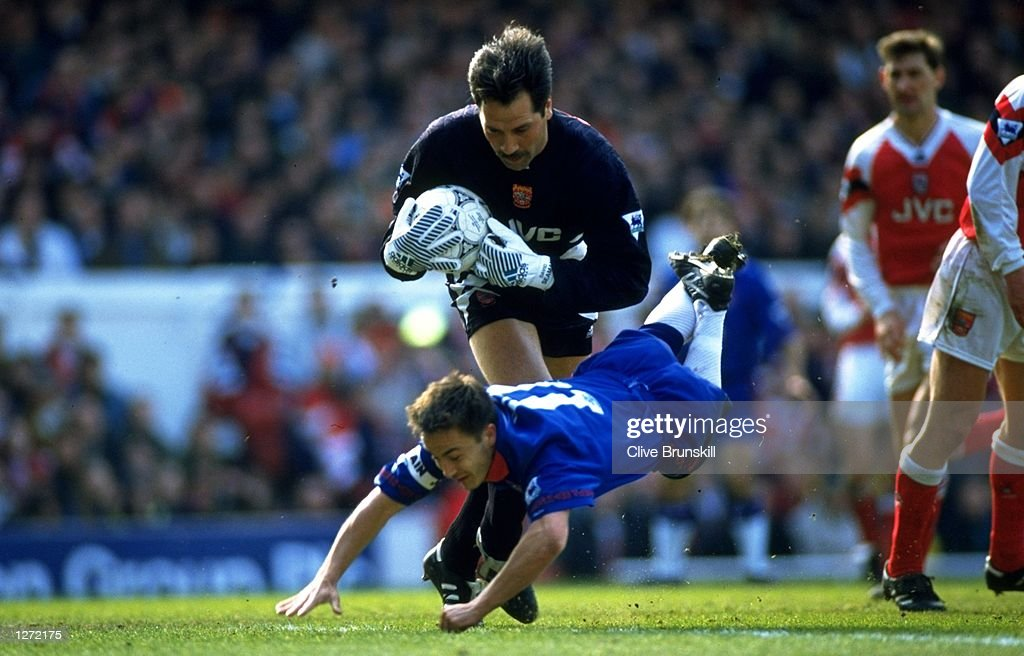 Arsenal goalkeeper David Seaman saves the ball from Dennis Wise of Chelsea during a match in London. \ Mandatory Credit: Clive Brunskill/Allsport