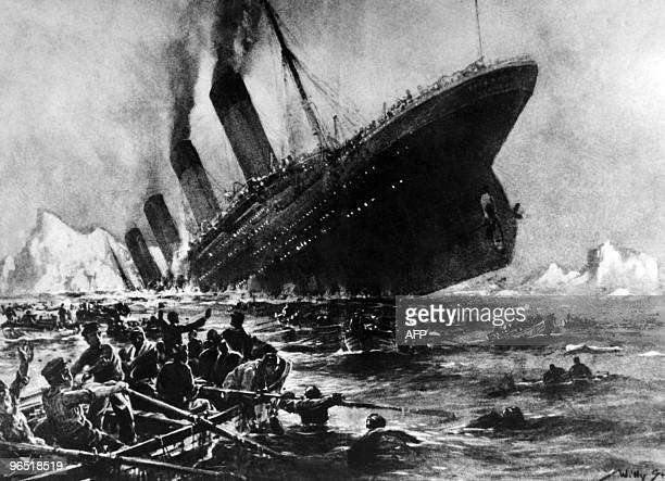 Undated artist impression showing the 14 April 1912 shipwreck of the British luxury passenger liner Titanic off the NovaScotia coasts during its...