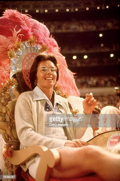 ` Billie Jean King of the USA relaxes before a match Mandatory Credit Allsport UK /Allsport