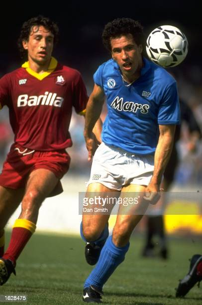 Careca of Napoli in action during an Italian Serie A match against AS Roma at the Stadio Sao Paolo in Naples Italy The match ended in a 11 draw...