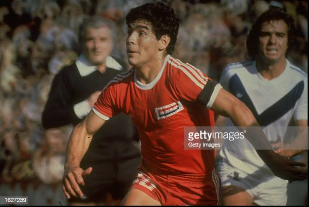 Diego Maradona of Argentina in action during a match for Argentinos Juniors in Argentina Mandatory Credit Allsport UK /Allsport