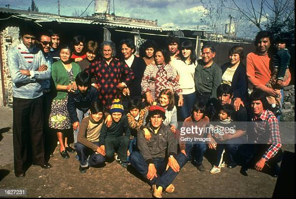 Diego Maradona of Argentina with family and friends in Argentina Mandatory Credit Allsport UK /Allsport