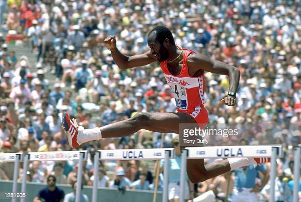 Edwin Moses of the USA in action during a Mens Hurdles event at Drakes Stadium UCLA in Los Angeles California USA Mandatory Credit Tony Duffy/Allsport