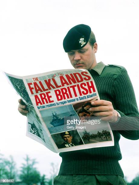 Undated File Photo A British soldiers reads a newspaper after Argentina Invades the Falkland Islands.