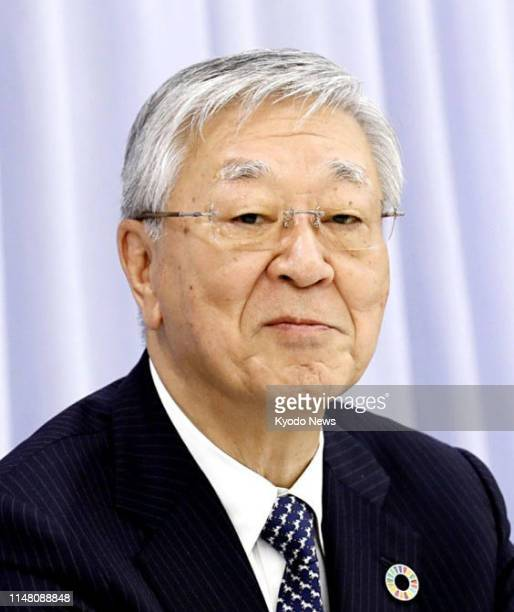 Undated file photo shows Hiroaki Nakanishi chairman of the Japan Business Federation or Keidanren The largest Japanese business lobby said June 5...