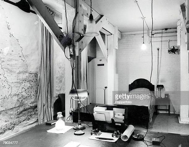 Undated file picture, Winston Churchill's private room at Storey's Gate during World War Two