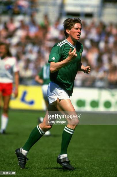 Gerry Daly of the Republic of Ireland runs into position during the World Cup qualifying match against Switzerland at Lansdowne Road in Dublin...