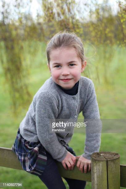 Undated handout photo of Princess Charlotte taken by her mother Catherine Duchess of Cambridge at their home in Norfolk in April to mark her fourth...