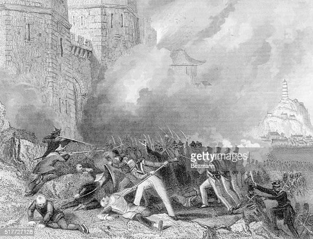 Undated illustration depicting an Opium War battle scene British troops capture ChinKeangFoo July 1st 1842