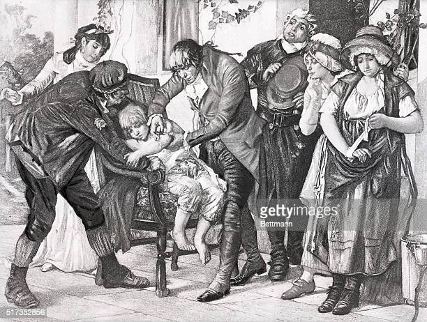 Undated illustration depicting English physician Edward Jenner's first smallpox vaccination performed on James Phipps in 1796 After a painting by GG...