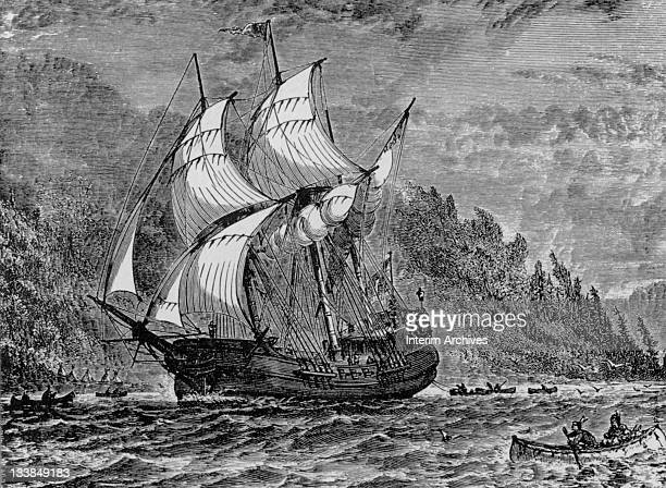 Undated illustration showing Henry Hudson sailing his ship the Half Moon up what is now the Hudson River with Native Americans rowing out to greet him