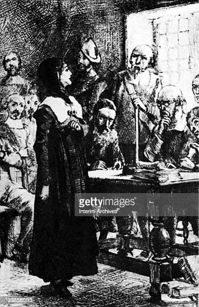 Undated illustration showing the trial of Anne Hutchinson , colonial reformer and suffragette.