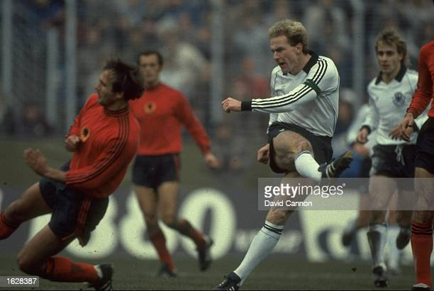 Karl-Heinz Rummenigge of West Germany in action during a match against Albania. West Germany won the match 2-0. \ Mandatory Credit: David...