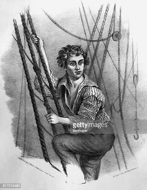 Undated lithograph of a sailor climbing the rigging of a ship