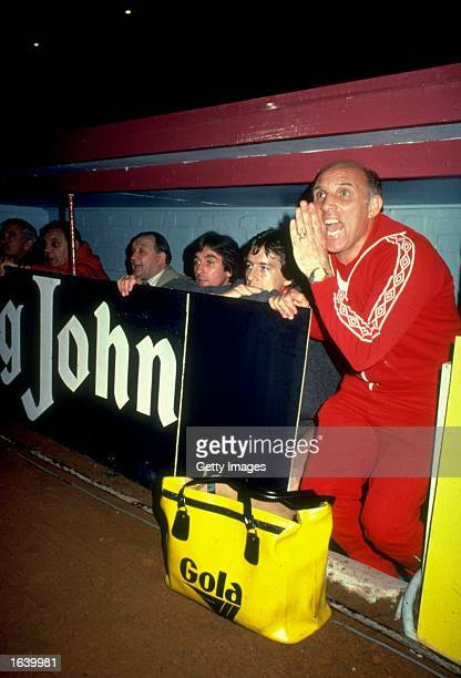 Liverpool Coach Ronnie Moran shouts out his orders from the Liverpool bench during a match Mandatory Credit Allsport UK /Allsport