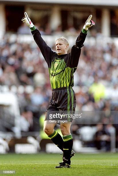 Manchester United goalkeeper Peter Schmeichel celebrates during a match Mandatory Credit Allsport UK /Allsport