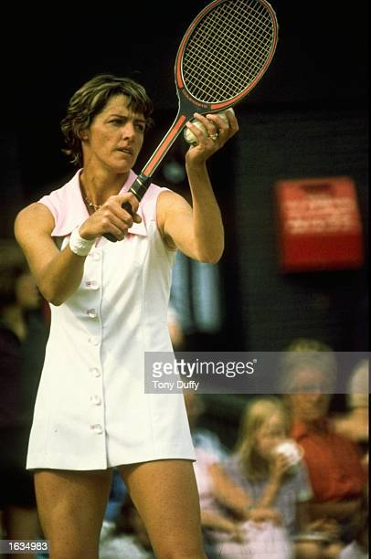 Margaret Court serves during a Tennis match Mandatory Credit Tony Duffy/Allsport