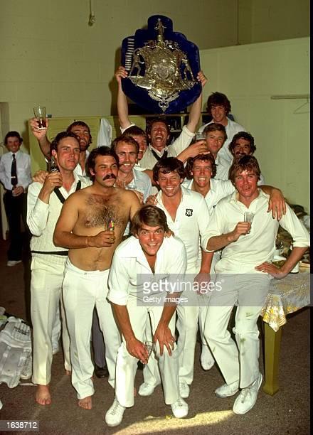 New South Wales team celebrate the win the Sheffield Shield Mandatory Credit Allsport UK /Allsport