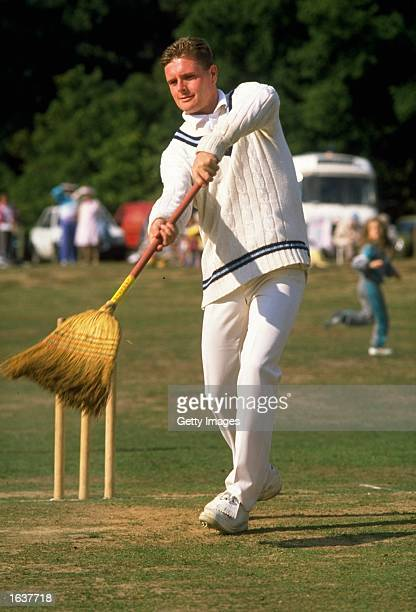 Paul Gascoigne of England plays cricket with a brush Mandatory Credit Allsport UK /Allsport