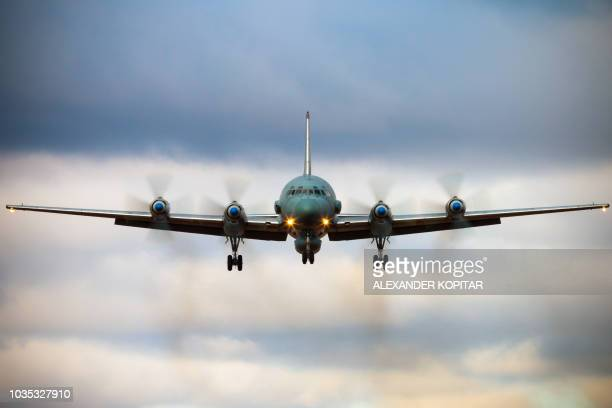 A undated photo obtained on September 18 2018 shows a Russian IL20M aircraft landing at an unknown location Russia blamed Israel on September 18 2018...