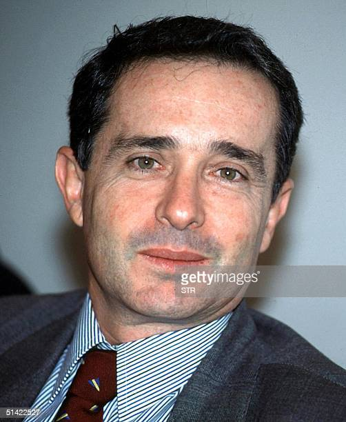 Undated photo of Alvaro Uribe Velez Colombian presidential candidate who is being accused by the CommanderinChief of the Revolutionary Armed Forces...