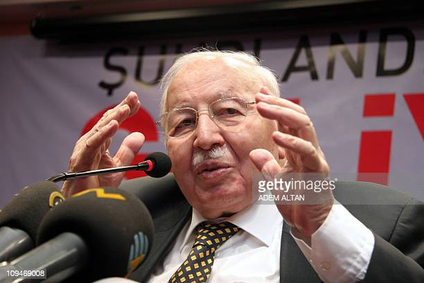 Undated photo shows Necmettin Erbakan a former Prime Minister who led Turkey's first Islamist government between 1996 and 1997 speaking during a news...