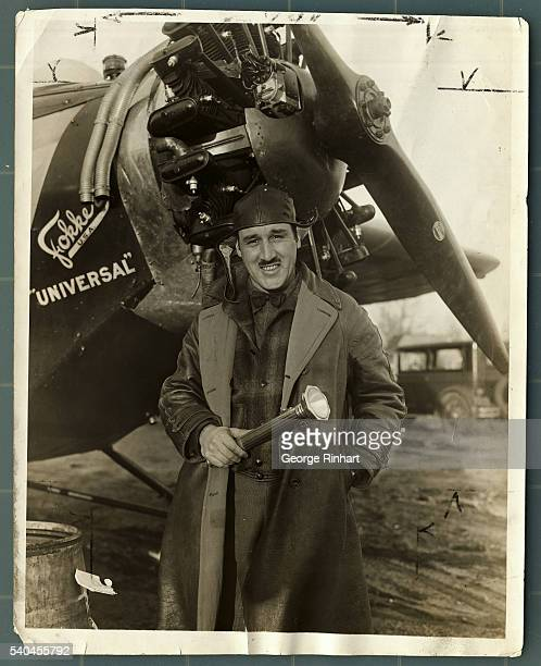 Undated photo shows pilot Bert Acosta standing in front of his Fokker airplane 'Universal'